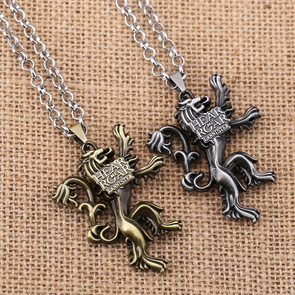 Game of Thrones House Lannister necklace pendant 2 Colors A Song of Ice and Fire Gift Personal Great Hear Me Roar LION RF63