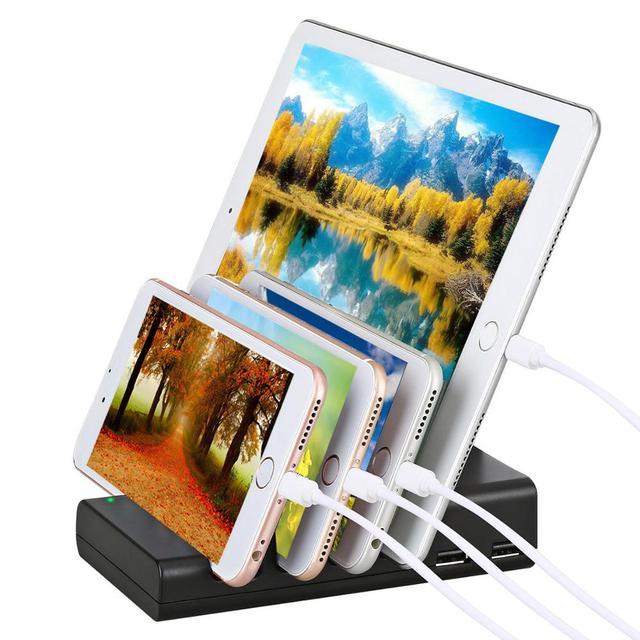 Stacja ładowania, 4 port USB wielokrotnego stacja ładująca stacja do ładowania Organizer na biurko i telefon komórkowy stację dokującą do smartfona