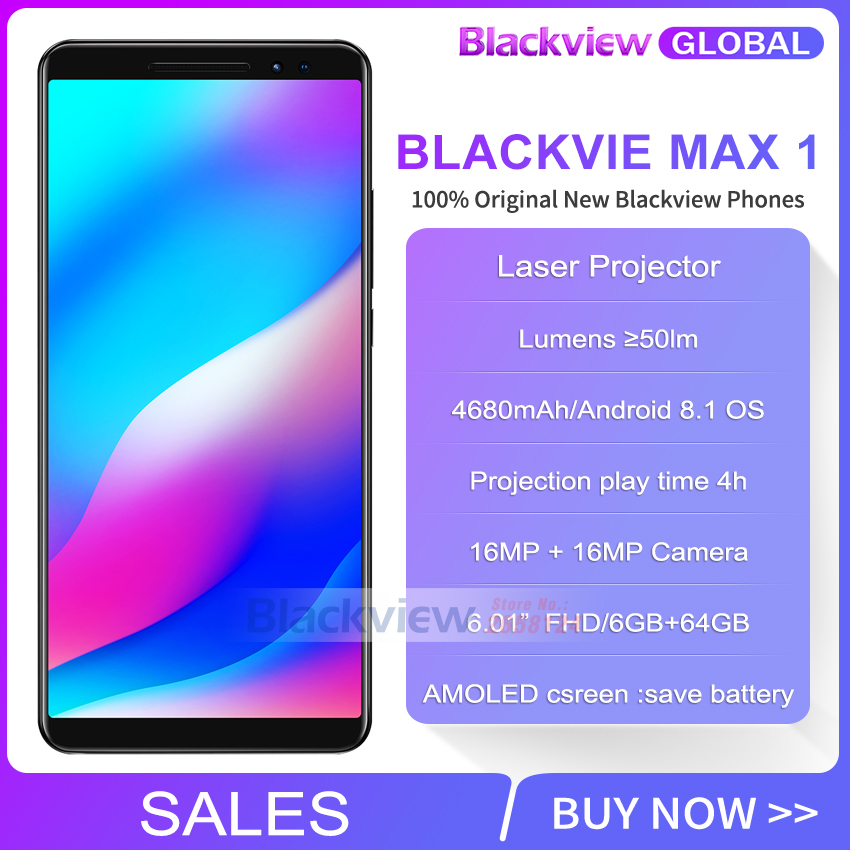 US $476 18 |Fast ship Blackview MAX 1 Laser Projector phone 6 01 inch 18:9  AMOLED 6GB 64GB 4680mAh Android 8 1 NFC Smartphone max1-in Cellphones from
