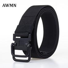 AWMN Outdoor sports leisure canvas Nylon belt, men's double ring buckles belt young students trendy fashion pants belts 70