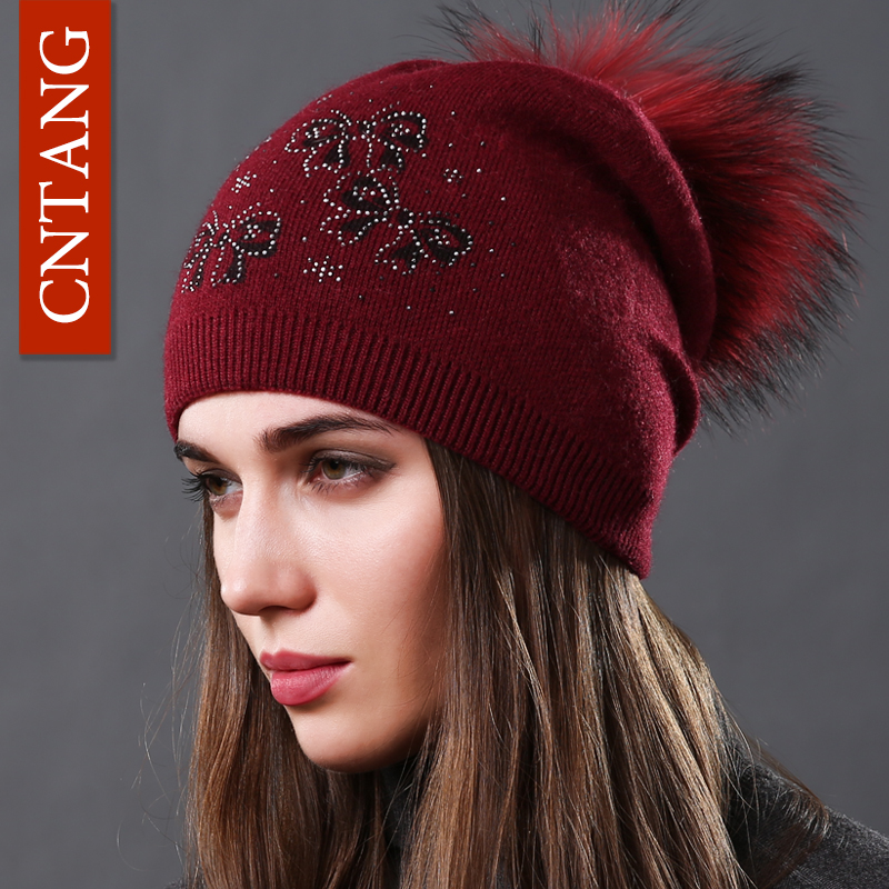 1d07cdedad22 CNTANG Real Natural de piel de mapache pompón arco sombreros Otoño Invierno  Caliente de punto de ...
