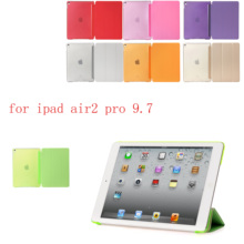 Siamese PC Leather  Case for Apple iPad air2 pro 9.7 Fashion Smart Cover + translucent back A1566`A1567`A1673`A1674