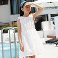 De encaje de algodón vestido de los niños niñas de 10 años blanco de princesa children ropa vestido de la muchacha de edad 4 6 8 12 14 sin mangas vestidos de fiesta