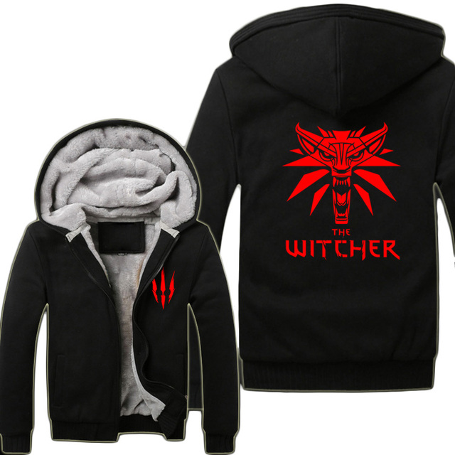 32717fd01c14 2015 Game The Witcher 3  Wild Hunt Wolf Head Hoodies Super Warm Fleece  Winter Zip up Printing Coats Sweatshirts
