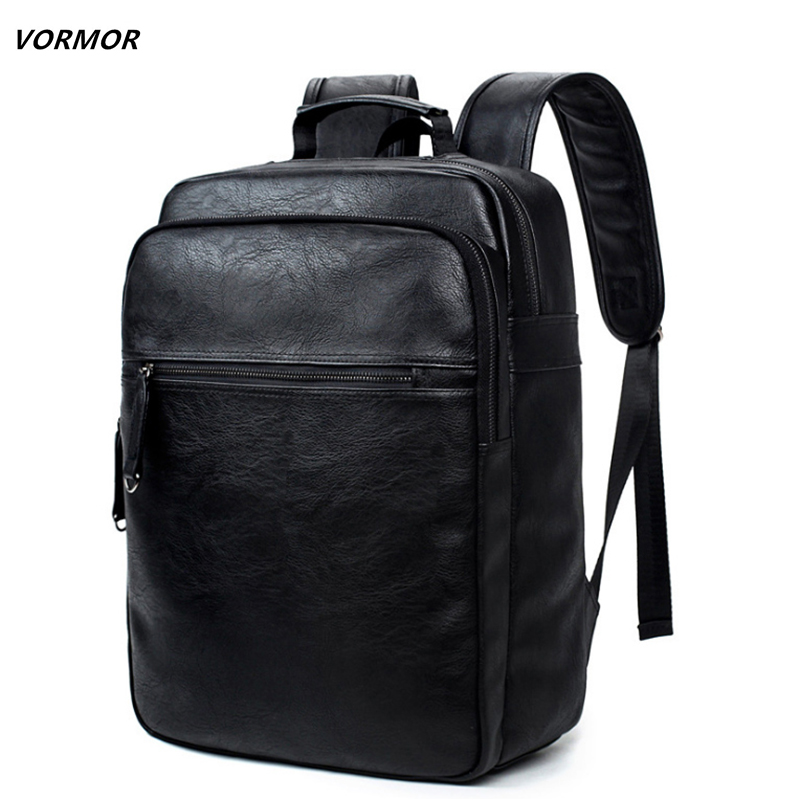 VORMOR Leather Backpack High Quality Youth Travel Rucksack Casual Male School Book Bag Business Laptop Backpack For Men