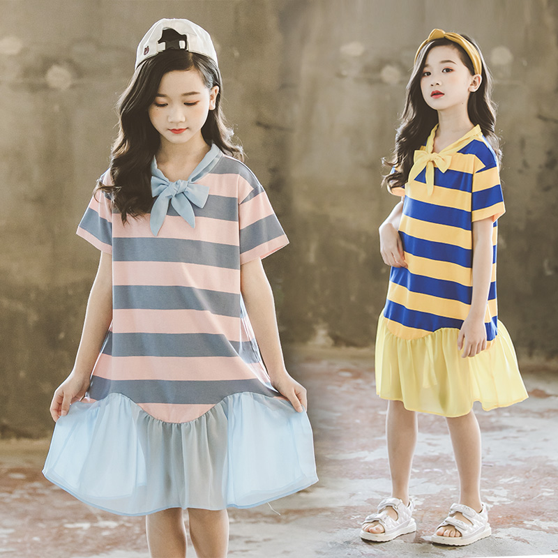 Vestido rayado para niñas disfraz ropa para niños vestidos trajes 2020 nuevo verano para niños pequeños chicas vestidos Leider 10 12 14 años