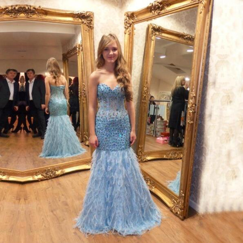 Robe de festa 2018 luxe bleu ciel perles plumes sirène robes de bal longues robes de soirée