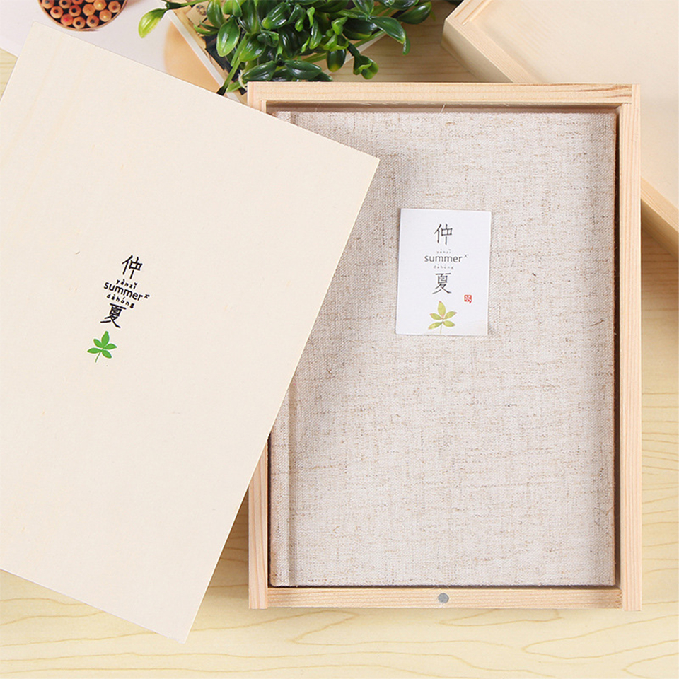 A5 Wooden Boxed Notebook Cotton Kawaii Joural Travelers Diary Notepad Business School Office Supply like a virgin secrets they won t teach you at business school