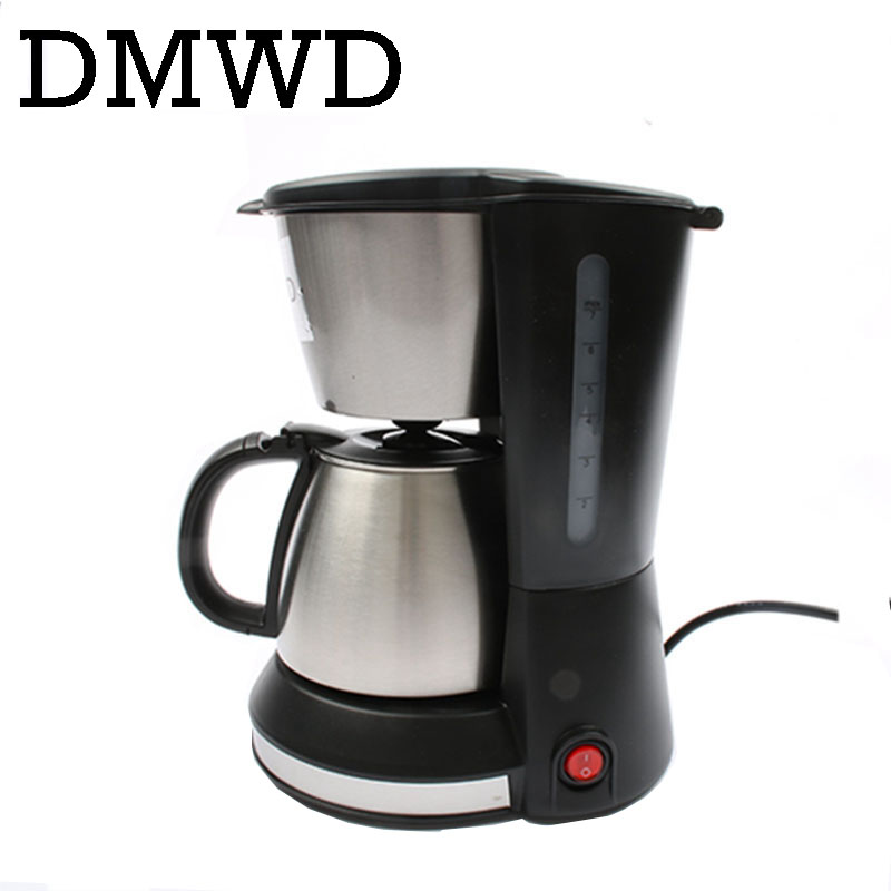 DMWD Automatic Electric Espresso Coffee Maker cafe drip American coffee Machine Latte Household mini stainless steel teapot 0.7L korea brand sn 3035 automatic espresso machine coffee maker with grind bean and froth milk for home