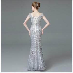 Image 3 - Cap sleeves rhinestone beading evening dresses long luxury Sequin Mermaid Long Evening Dress golden & silver mermaid formal gown