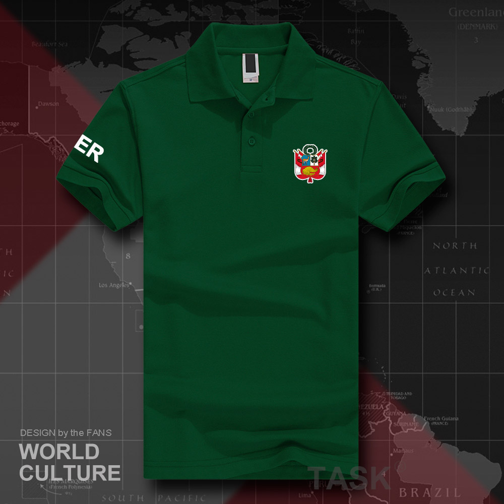 >Republic of <font><b>Peru</b></font> PER polo shirts men short sleeve white brands <font><b>printed</b></font> for country <font><b>2018</b></font> cotton nation emblem new fashion