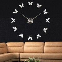 Vlinder DIY Muurstickers Klok Home Decor 3D Stereoscopische Acryl Spiegel Klok Zilveren Gouden 120 cm * 120 cm