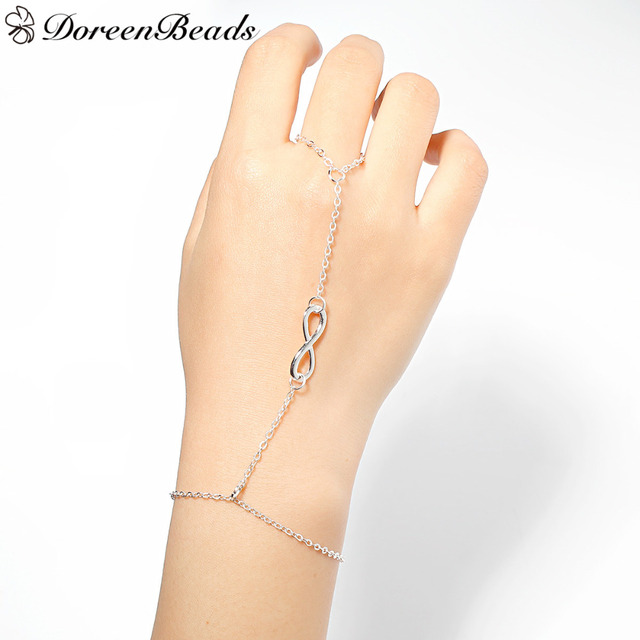 Doreenbeads Infinity Symbol Hand Chain Slave Bracelets Forever Love