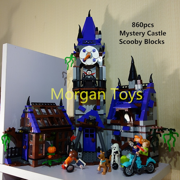Scooby Doo Mystery Castle Courtyard Building blocks Compatible With Le Toy Kid Gift Free Shipping ynynoo 305pcs 10430 the mystery machine scooby doo fred shaggy zombie zeke toys building blocks christmas gift sa562