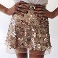 2017 New fashion spring summer women high quality high waist plus size vintage gold zipper mesh sequined mini A-line skirt