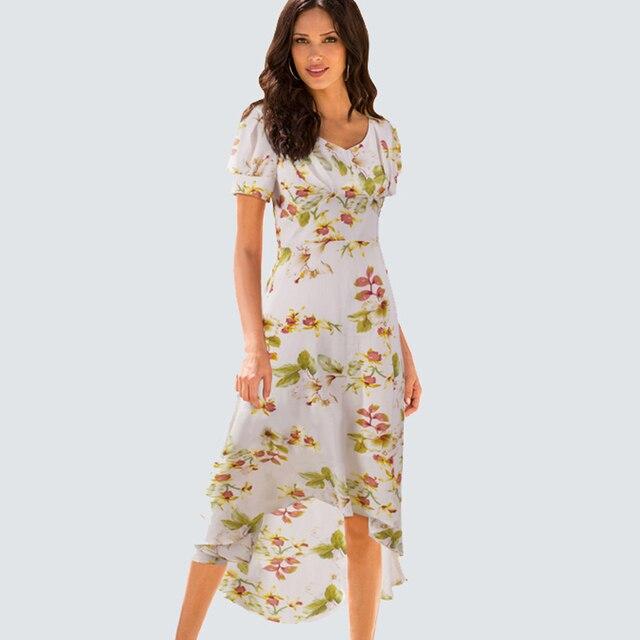41372c53e Summer Chiffon Beach Casual High-low Hemline Floral Dress V Neck Lantern  Short Sleeve Lining Women Gorgeous Fresh Dress HB308