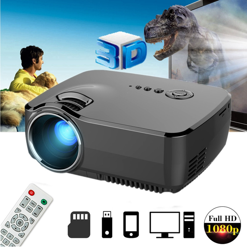 GP70 LCD projecteur à LED portable 1080 P Full HD 1200 Lumen HDMI USB VGA TV AV Port optionnel bluetooth sans fil WIFI