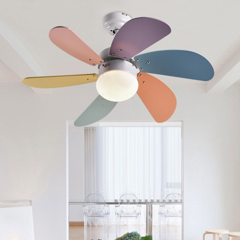 Fashion colorful Children fan LED lamp ceiling fan lamp simple bedroom dining room LED lamp lighting ceiling light ZAG wholesale factory price retro copper lighting led ceiling light for home bedroom study dining room lamp