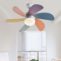 Fashion colorful Children fan LED lamp ceiling fan lamp simple bedroom dining room LED lamp lighting ceiling light ZA