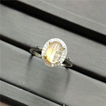 Natural Gold Rutilated Quartz Adjustable Ring 9x8mm Oval Shape Woman Man Anniversary AAAAA Rings 925 Sterling Silver Jewelry