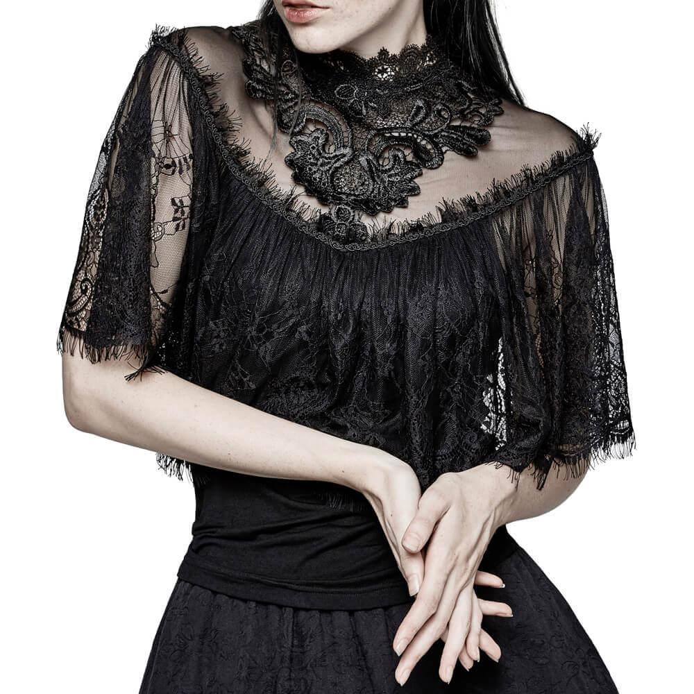 T T Châle Noir Mujer Tops Shrug shirt Camisetas Gothique T Chemises shirts Fleurs Dentelle Tricoté Femmes xnHXpfA