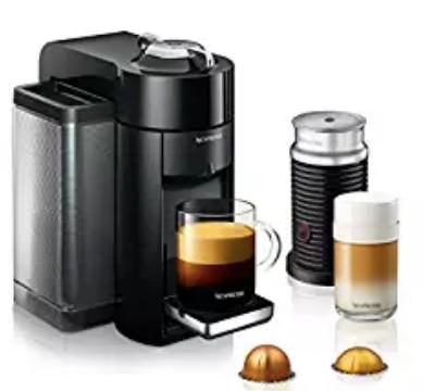 Aletler'ten Alet Parçaları'de Nespresso Vertuo Evoluo Kahve ve espresso makinesi ile Aeroccino De'Longhi tarafından  Siyah title=