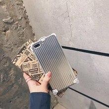 Корейский чемодан чехол сумка для путешествий багаж DIY любовники буквы жесткий + 8 мягкая наклейка чехол для iphone 8 7 6 6 S plus X 10 чехол