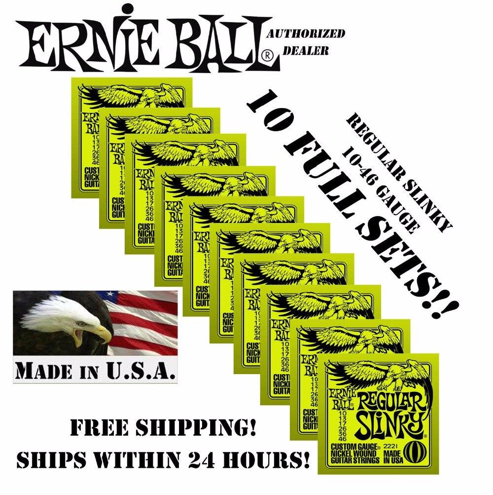 10 Pack Ernie Ball Regular Slinky 10-46 Electric Strings 2221 (10 SETS)