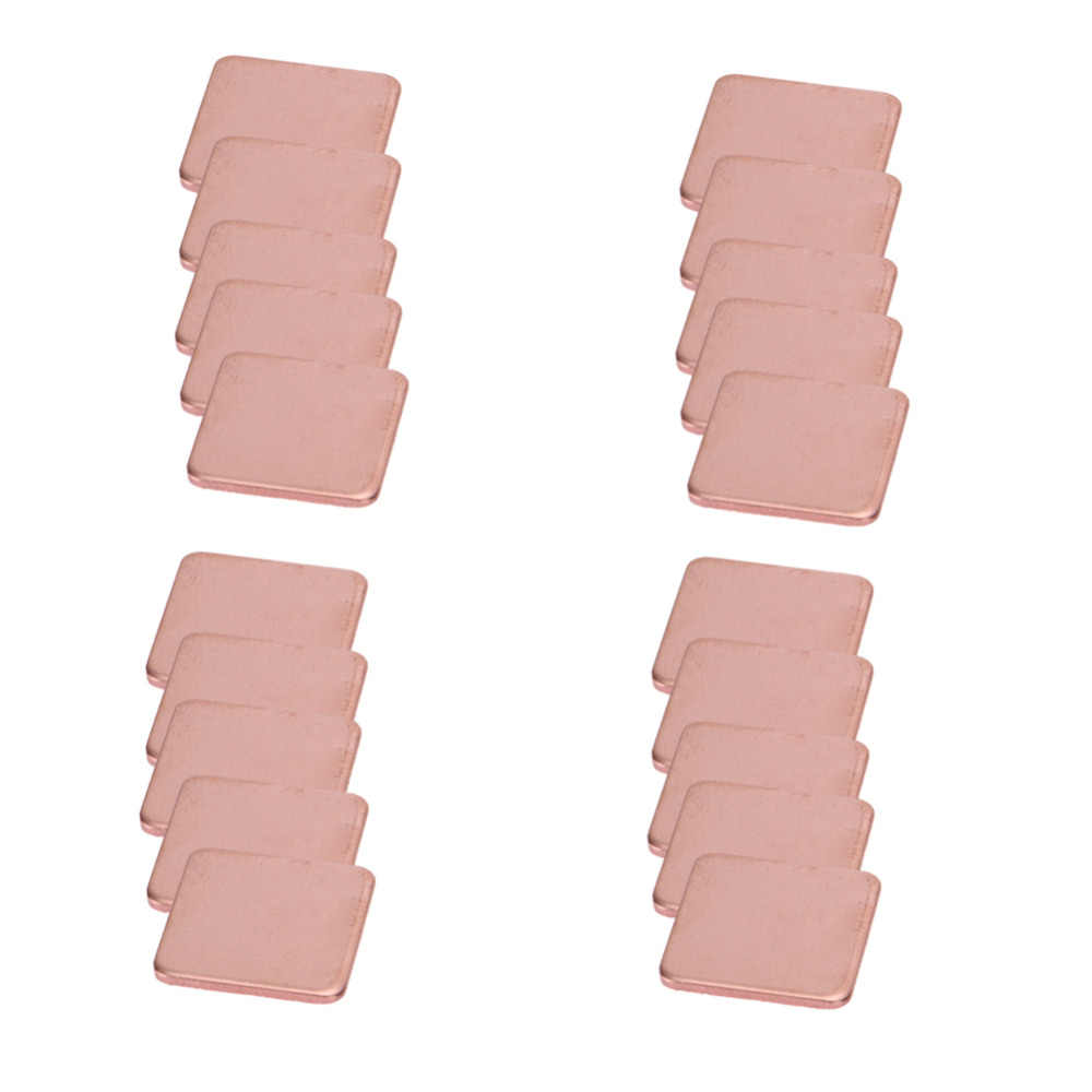 20 pièces/paquet 15mm x 15mm 0.3mm 0.4mm 0.5mm 0.6mm 0.8mm 1mm d'épaisseur dissipateur thermique cale de cuivre tampons thermiques pour ordinateur portable IC jeu de puces GPU CPU