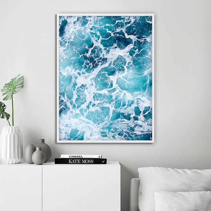 Succulent Plant Ocean Picture Scandinavian Poster Nordic Scenery Wall Art Canvas Print Painting Modern Home Room Decoration