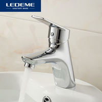 LEDEME Bathroom Faucet Water Solid Black Red Basin Faucet Brass Chrome Surface Single Handle Water Sink Tap Mixer L1040