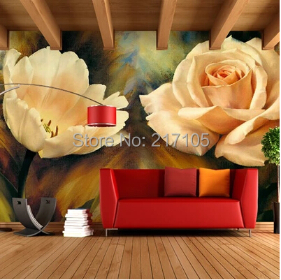 Custom large murals, European Oil Painting Wallpaper tulip, the living room wall, sofa, TV wall, bedroom wall wallpaper free shipping large mural wallpaper villa living room ceiling european oil painting wallpaper