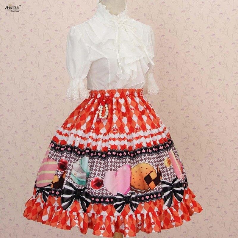 Sweet Style Party Dessert Printed Womens Lolita Skirts Orange Polyester Cosplay Princess Lolita short Puff Skirts