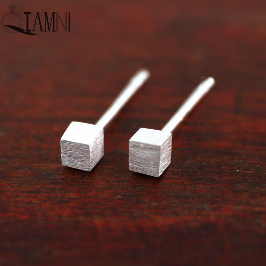 QIAMNI 925 Sterling Silver Cube Brushed Matt Surface Geometry Stud Earring Women Girls Christmas Party Birthday Gifts Jewelry