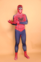 (LP7101) Unisex Adult Full Body Red And Blue Lycra Spandex Superhero Spiderman Zentai Suits Halloween Party Costume