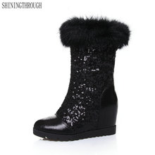 New Women Boots shiny snow Boots Women's shoes dress Shoes woman winter Boots Female