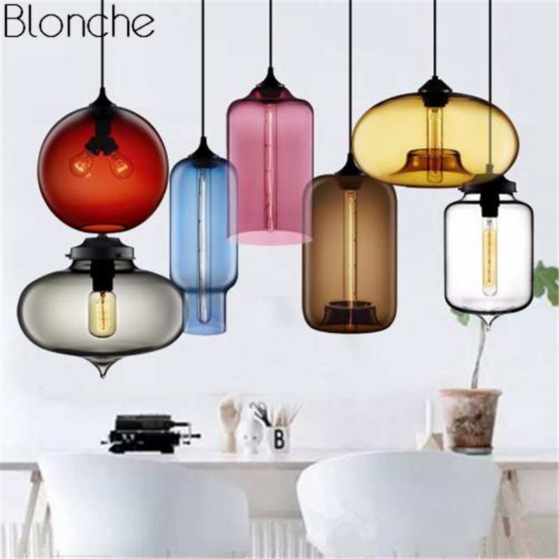 Modern Stained Glass Led Pendant Lights Nordic Colorful Hanging Lamp Living Room Kitchen Home Loft Industrial Decor Fixture E27