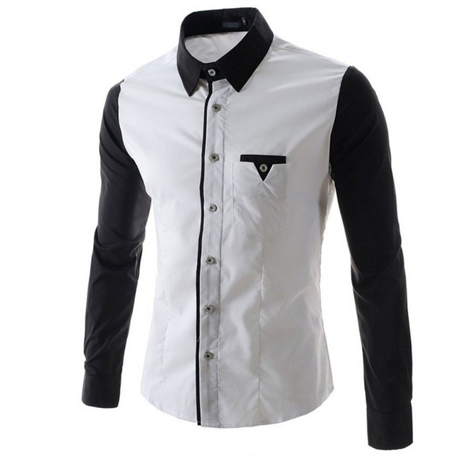 2017 Men'S Fashion Black And White Stitching Design Leisure Slim Long Sleeve Shirt Single-Breasted Shirt Was Thin XXL DNKFD