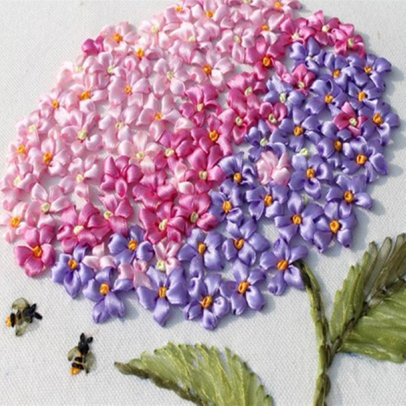 DIY 3D Ribbon Embroidery cross stitch kits sets handmade needlework / Happy flowers paintings Room Wall Decor arts picture