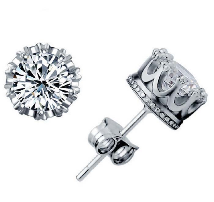 New Fashion Jewelry  Ear Stud Women Men Crown Zircon Crystal Double Stud Earrings