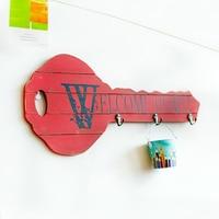 Cute Key Shape Wooden Wall Hanging Hook Creative Wood Craft Home Decoration Accessories Modern Decorative Hook