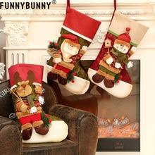 FUNNYBUNNY Christmas socks gift bag decorations Burlap candy Santa Claus Snowman Elk