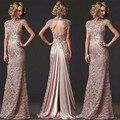 Alta Qualidade Lace Longo Sereia Vestido de Noite 2017 Formal Frisada Alta Neck Mãe do Vestido Da Noiva Vestido de festa longo LY008