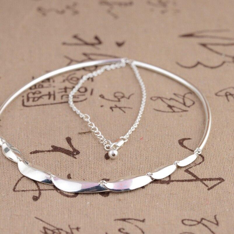 100% réel 925 en argent Sterling bambou feuilles chaîne collier pour femmes filles mode bijoux anniversaire fiançailles cadeau d'anniversaire - 6
