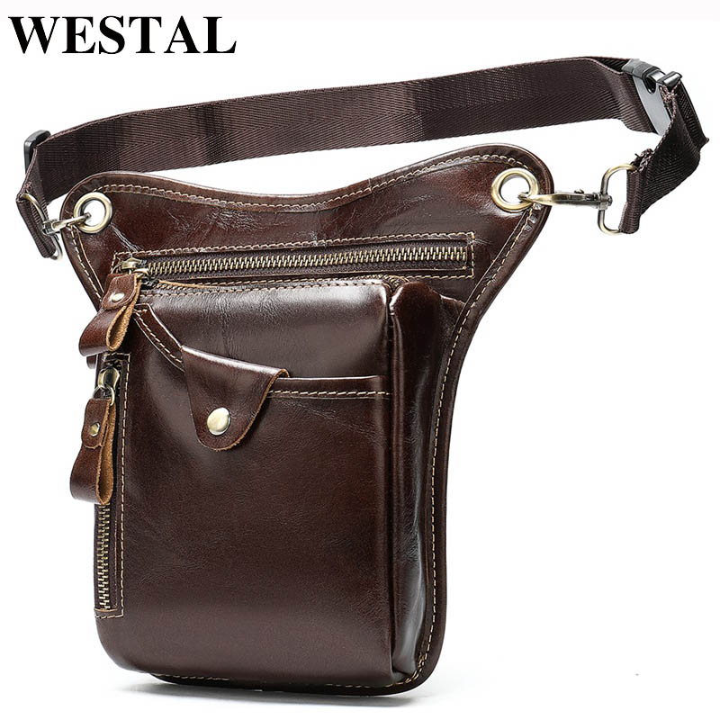WESTAL Men's Belt/Leg Bags Genuine Leather Motorcycle Leg Drop Bag Men Waist Bags Male Fanny Pack Thigh Bag Money Belt Pouch