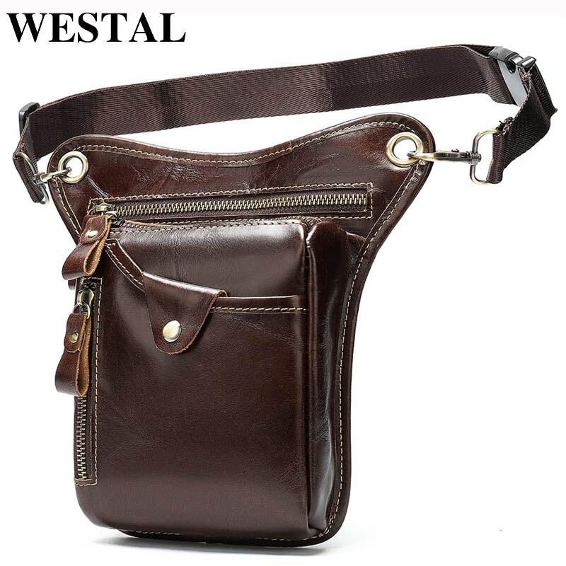 WESTAL Men's Belt/Leg Bags Genuine Leather Motorcycle Leg Drop Bag Men Waist Bags Male Fanny Pack Thigh Bag Money Belt Pouch