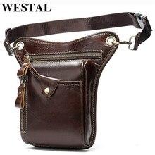 WESTAL Mens Belt/Leg Bags Genuine Leather Motorcycle Leg Drop Bag Men Waist Male Fanny Pack Thigh Money Belt Pouch