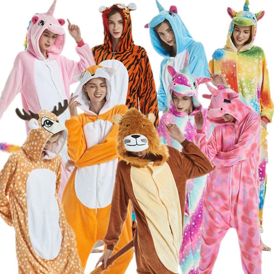 Adults Unicorn Tiger Lion Fox Sika Deer Kigurumi Womens Mens Onesies Pajamas Cosplay Costume for Halloween Carnival Party