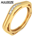 Винтаж Milgrain Выдалбливают Дизайн Природных Алмазов Обручальные кольца 14 К Желтое Золото Кольцо С Бриллиантом Для Женщин Обручальное Кольцо