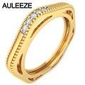 Milgrain vendimia Ahueca Hacia Fuera el Diseño de Bandas De Bodas De Diamante Natural 14 K Oro Amarillo Anillo de Diamante Para Las Mujeres Anillo de Compromiso Real
